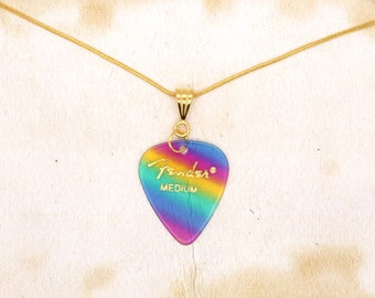 Fender Rainbow Guitar Pick On Gold Plated Snake Chain Necklace