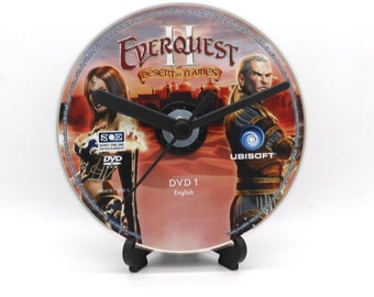 Everquest II PC Upcycled CD Disc Clock Video Game Collectable Gift Idea