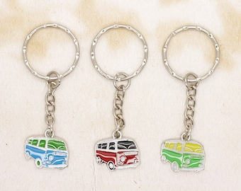 Silver Metal and Enamel VW Style Camper Van Keyring Choice of Colour