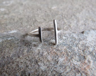 925 Sterling silver Parallel Lines Ring