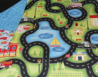 """Help Is On The Way Travel Playmat with 6 """"garage"""" pockets"""