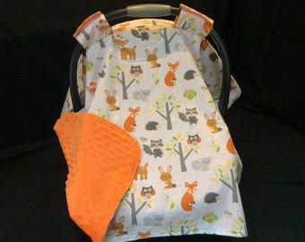 Car Seat Canopy/ Forest Animals, Fox, Owl, Rabbit, Raccoon, Deer, Squirrel, orange