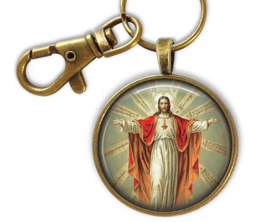Catholic Keychain - Jesus Keychain - Sacred Heart of Jesus Key chain