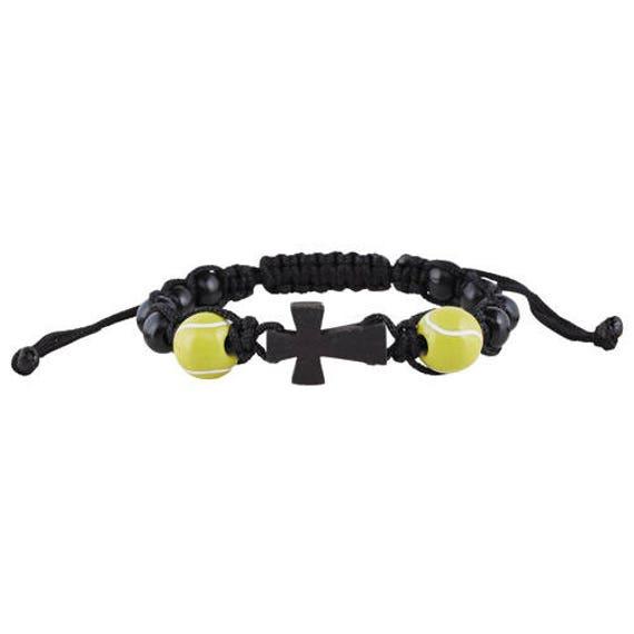 Tennis Rosary Bracelet |Corded wood bead rosary bracelet with 2 wooden tennis ball beads - Sport Rosary Bracelet for Kids and Teens!