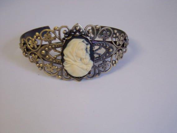 Madonna and Child Cuff  Bracelet - Catholic Adjustable Bracelet - Catholic Cuff Bracelet - Madonna of the Streets Cameo