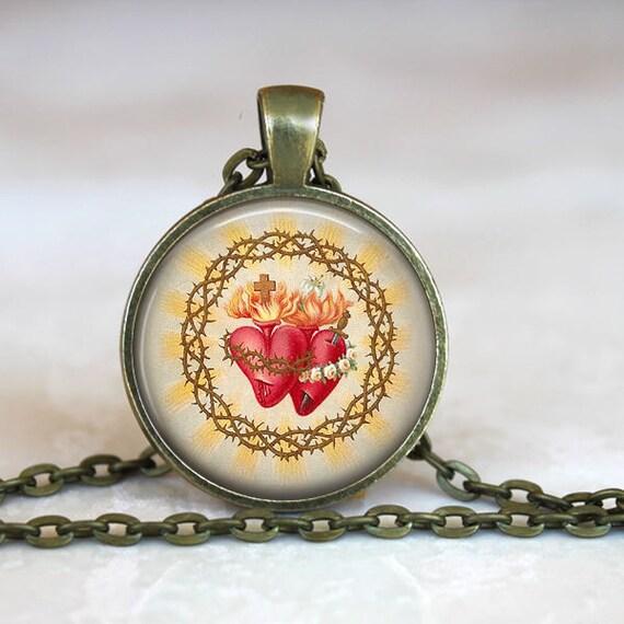 Catholic Pendants - Two Hearts Necklace