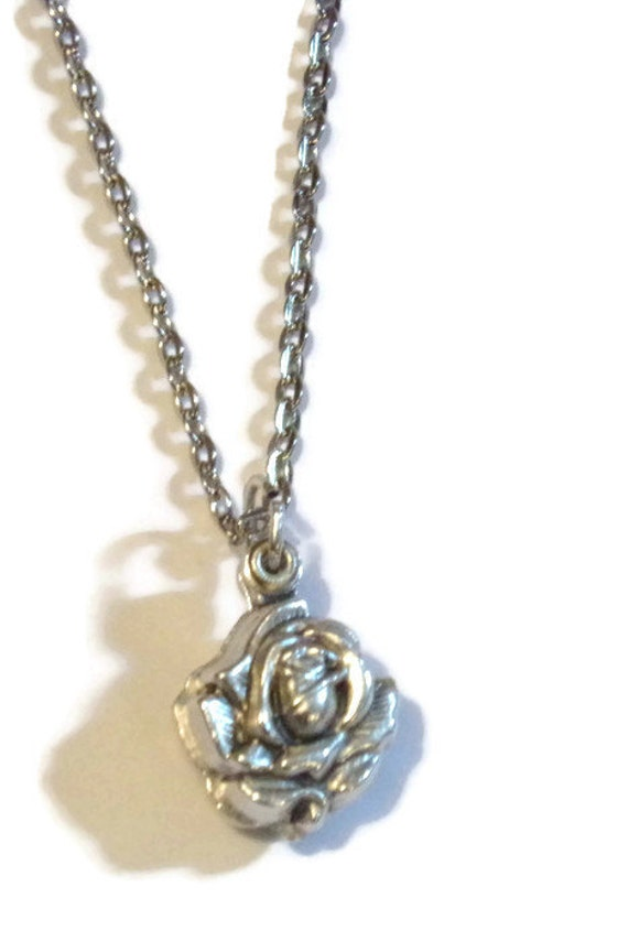 Saint Michael and Guardian Angel Rose Slide Locket Necklace with   stainless steel necklace chain - GIFT BOXED