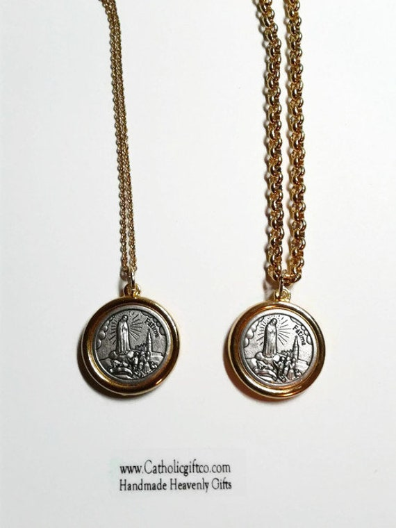 Our Lady of Fatima Medal Pendant with Stainless Steel chain in silver and gold, Centennial Medal - ON SALE