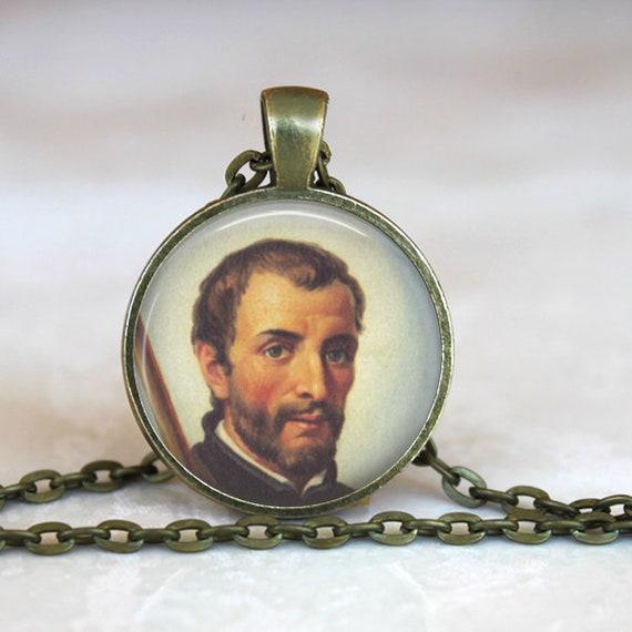 Saint Francis Xavier Pendant with 24 inch chain - Patron Saint of Catholic Missions