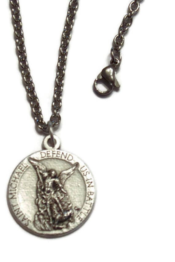 Saint Michael Army Medal with 18 or 24 inch STAINLESS steel chain necklace