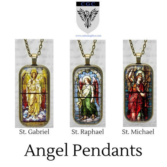 Archangel Pendant with 18 or  24 inch chain - Stained Glass Art Angel Pendant - St Gabriel, St Raphael or St Michael