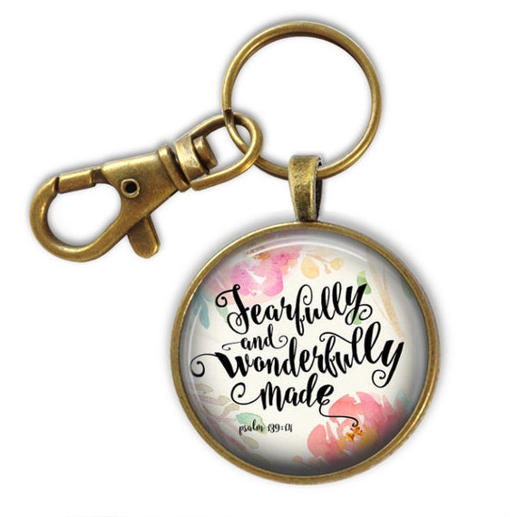 Psalm 139 Bible Verse Keychain - Catholic Jewelry Gifts - Fearfully and Wonderfully Made Psalm 139 - with Gift Box