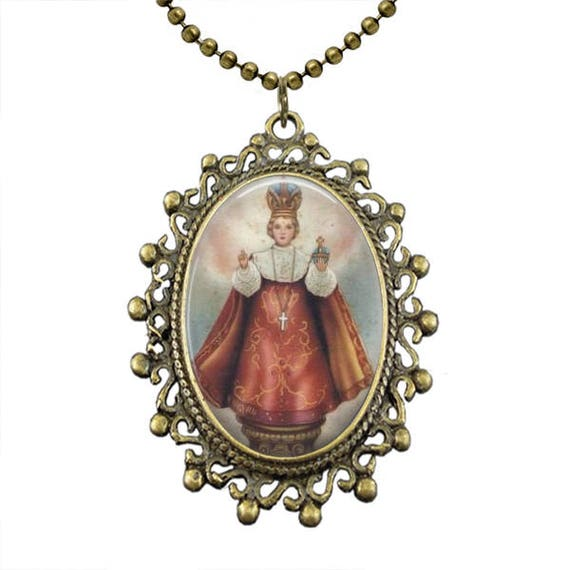 Infant of Prague Necklace with 18 or 24 inch chain - Infant Child Jesus