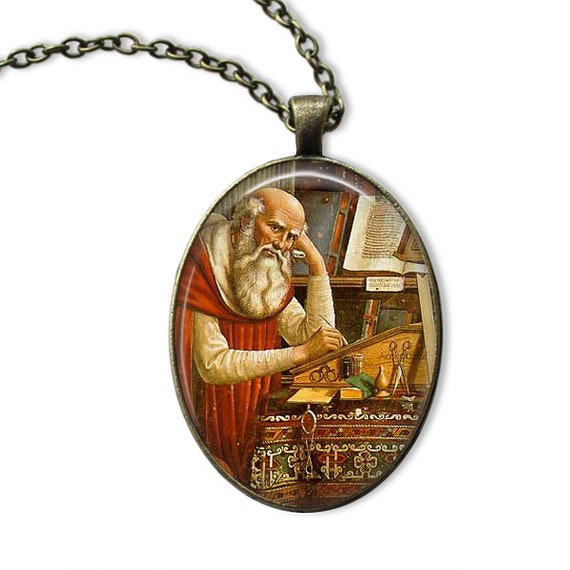 Saint Jerome Pendant in bronze with 18 or 24 inch necklace - Patron Saint Necklace