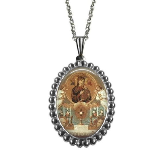 Eucharistic Adoration stainless steel Pendant | 18 or 24 in stainless silver chain