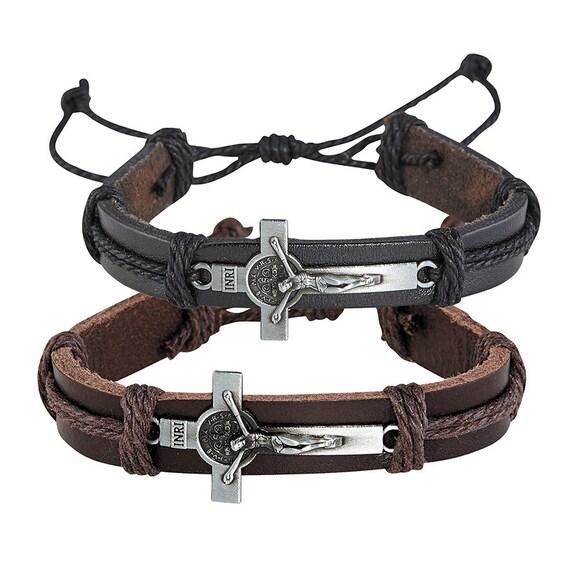 Leather Saint Benedict Crucifix Bracelet-  Leather Corded Bracelet with metal St Benedict Crucifix