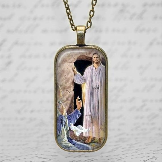 Easter Morning- St Mary Magdalene Pendant, Catholic Jewelry, Catholic Saint Necklace, Saint Mary Magdalene with Jesus after the Resurrection