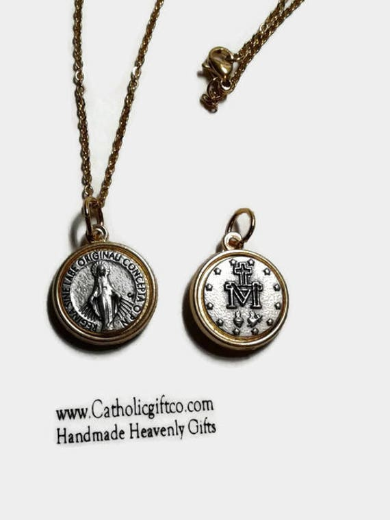 """Miraculous Medal Necklace -  5/8 """" Italian made - silver and gold tone - 18 or 24 inch stainless steel chain & lobster claw"""