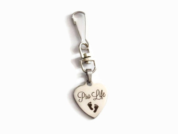 Pro Life Charm Zipper pull- Stainless Steel laser engraved charm with baby feet - Pro Life Gift
