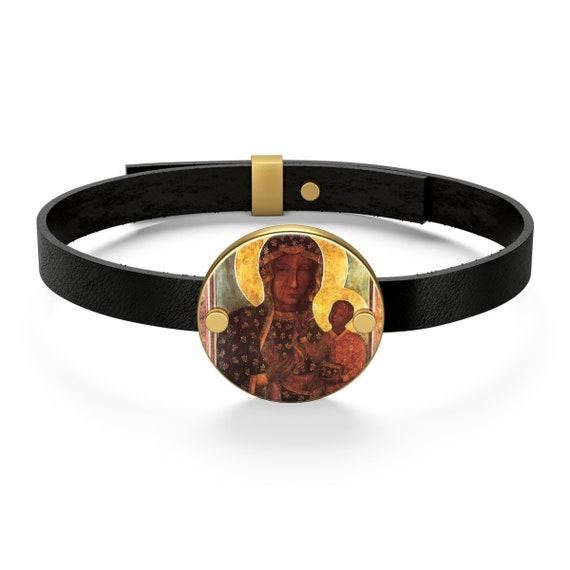 Our Lady Of Czestochowa Leather Bracelet -  The Black Madonna Of Poland