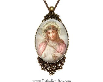 Jesus Christ Necklace with 18 inch chain - Catholic Necklace . Passion of Christ . Crowned with thorns