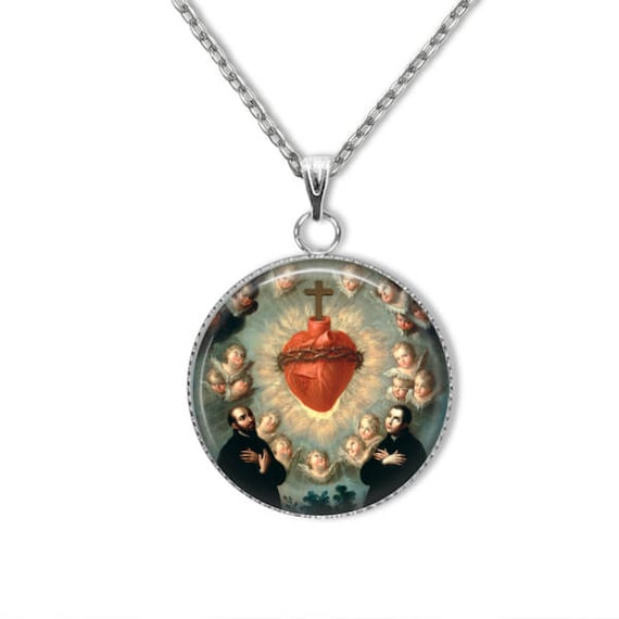 Sacred Heart of Jesus Pendant, Stainless Steel Pendant with 18, 20, 24 inch chain - Catholic Jewelry, Sacred Heart Necklace