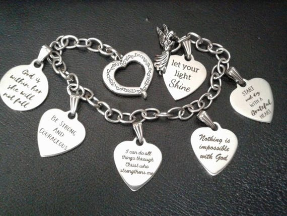 Custom Catholic Charm Bracelet - Stainless steel charms and bracelet - Choose from 11 different stainless steel charms!