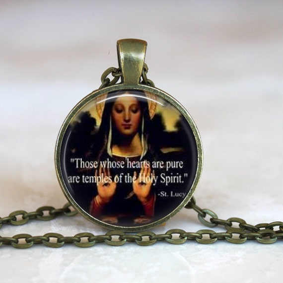 Saint Lucy Pendant - Patron Saint of the Eyes and Blindness , Defender of the Faith - Catholic necklace