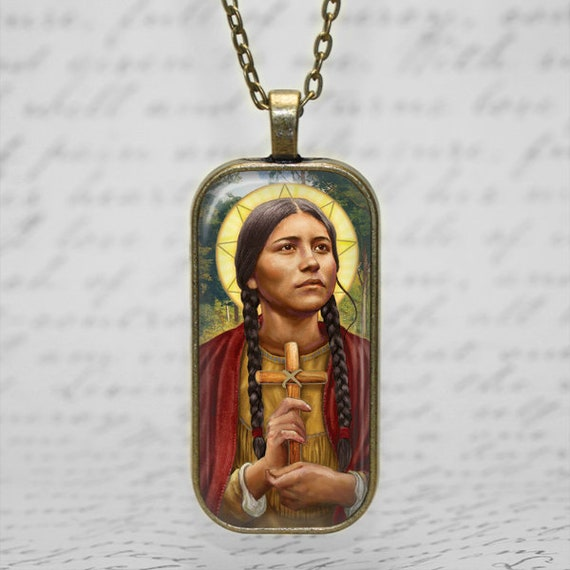 Saint Kateri Tekawitha  Necklace - Catholic Pendant with 18 or 24 inch necklace - Lilly of the Mohawks