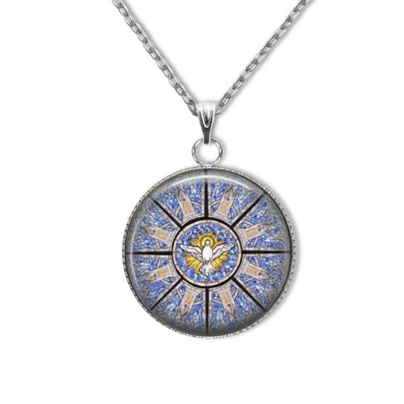 Holy Spirit stainless steel Pendant in blue with stainless silver chain - lightweight, hypoallergenic- Confirmation Gift