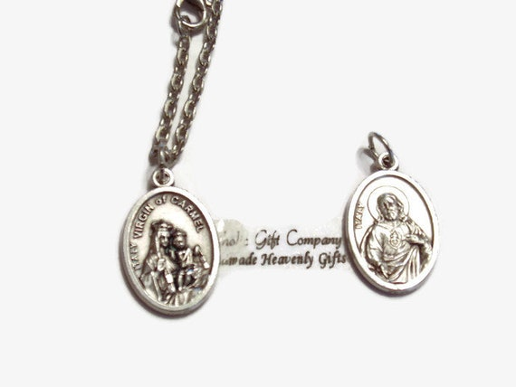 Catholic Saint Medal  Necklace with 18 or 24 in oval link chain necklace - Simple devotional saint necklace