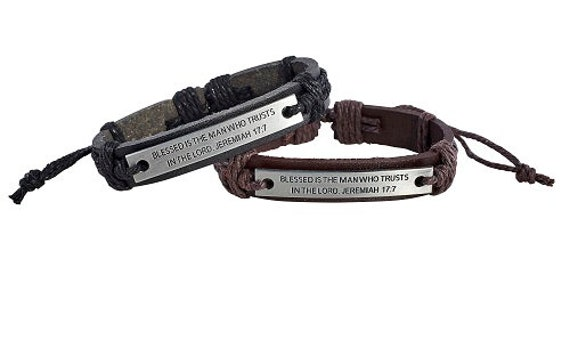 Catholic Bracelet for Men-  Leather Corded Bracelet:  BLESSED IS The MAN who trusts in the Lord - Jeremiah 17 7 - scripture bracelet