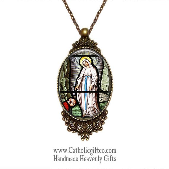 Large Bronze Catholic Necklace, Our Lady of Lourdes, with 18 or 24 inch necklace