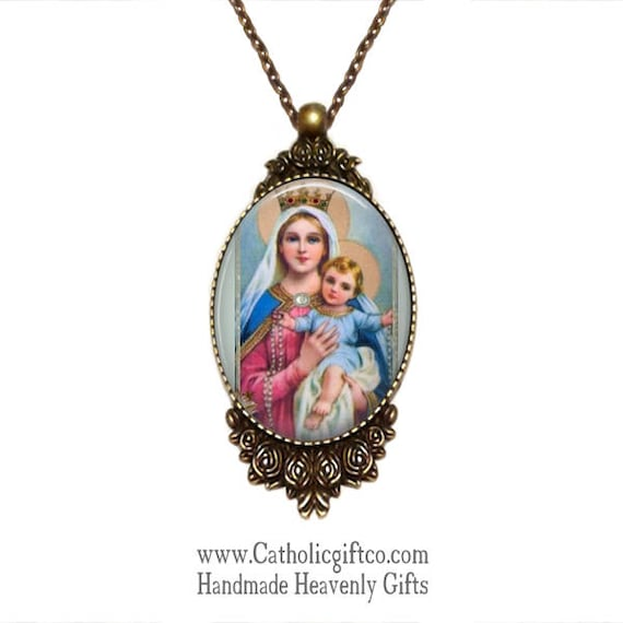 Our Lady of the Rosary Art Pendant including 18 or 24 inch chain - Blessed Virgin Mary Necklace