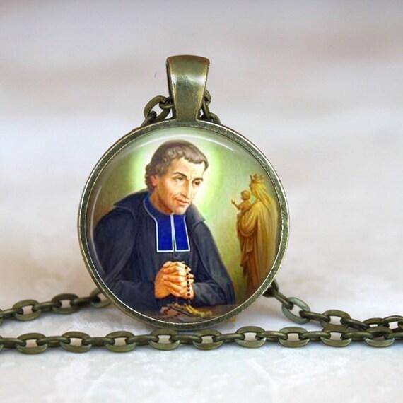 Saint Louis de Montfort Pendant - Patron Saint of the Rosary with 18 or 24 inch chain