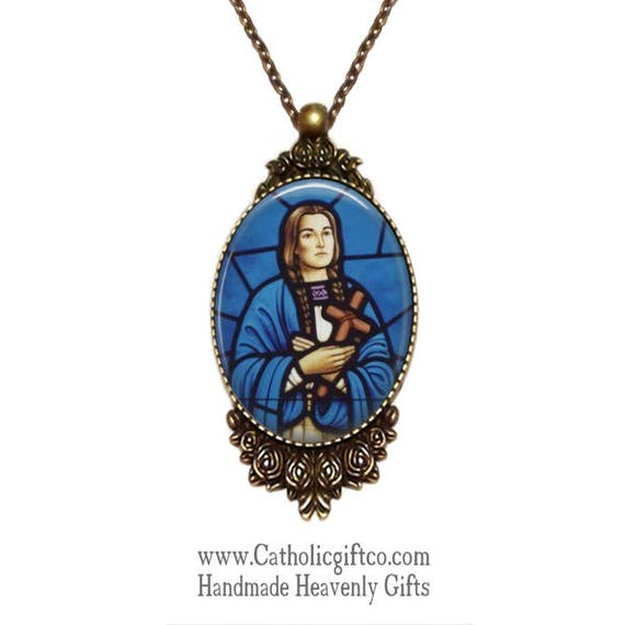 Saint Kateri Tekawitha  Necklace Large Catholic Pendant in bronze with 18 or 24 inch necklace - Lilly of the Mohawks