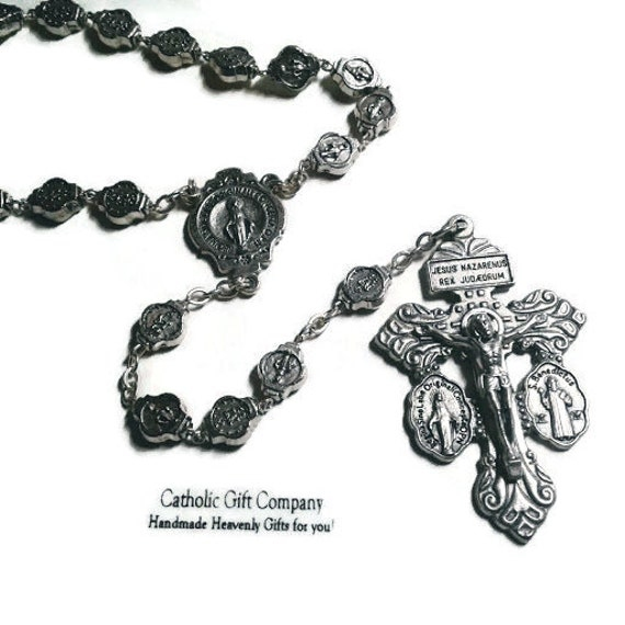 Silver Miraculous Medal Rosary with Pardon Crucifix , Heavy weight metal Rosary - Great rosary for men
