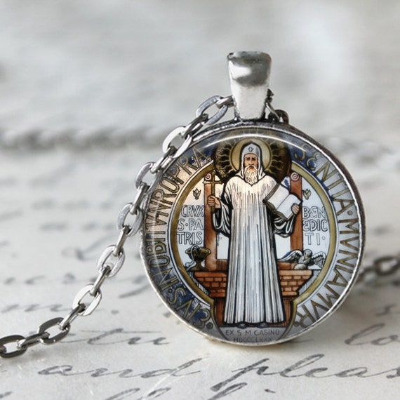 St. Benedict Pendant with 24 inch chain, Catholic Saint Necklace- Let your faith be your protection against evil.
