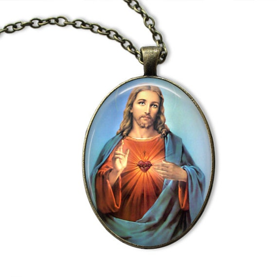 Sacred Heart Pendant in bronze with 18 or 24 inch necklace -