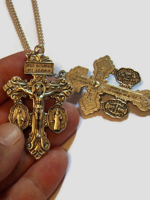 Pardon Crucifix Necklace with Miraculous Medal and Saint Benedict Medal | POWERFUL SACRAMENTALS| Plated or Stainless Steel Chains