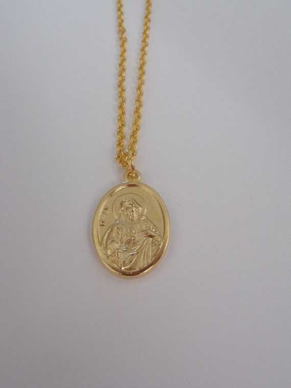 Sacred Heart of Jesus / Our Lady of Mount Carmel Necklace - Italian medal - Two-sided, gold tone - 24 inch chain