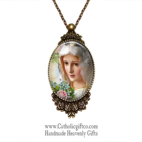Our Lady of Fatima Handmade Pendant in bronze with 18 or 24 inch necklace