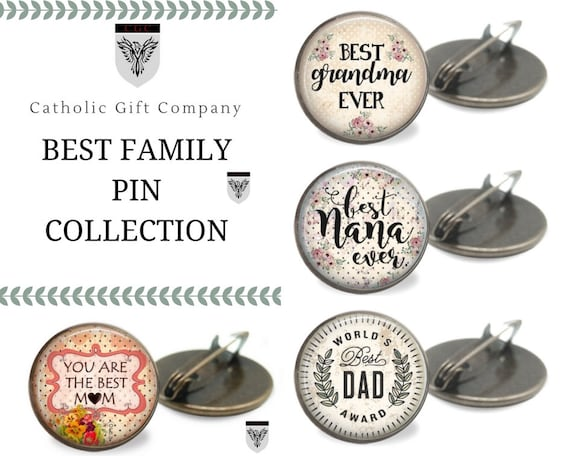Family Love Brooch Pin in bronze - One inch bronze pin - Best Pin Collection - Best Mom, Best Dad, Best Grandma, Best Nana