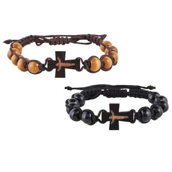Wooden Rosary Bracelet | Corded wood bead rosary bracelet with crucifix - Rosary Bracelet for Kids and Adults