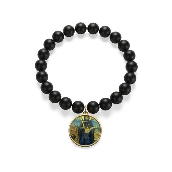 Saint Peter Damian Onyx Bead Bracelet