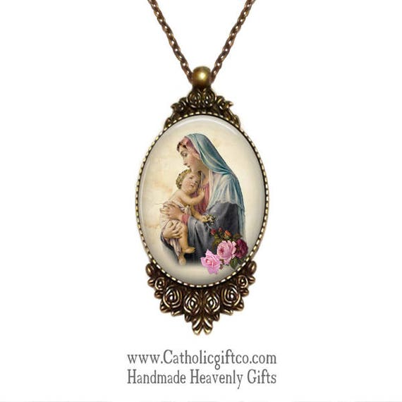 Large Catholic Necklace with the Blessed Virgin Mary and the Infant Jesus in bronze with 18 or 24 inch necklace
