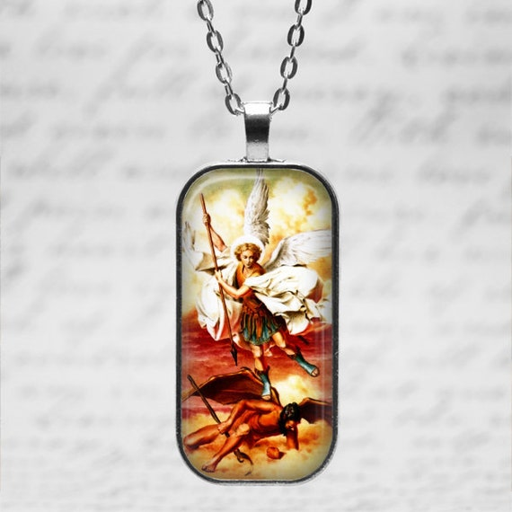 Silver Saint Michael Necklace - St. Michael Pendant - St Michael and satan with 24 inch necklace