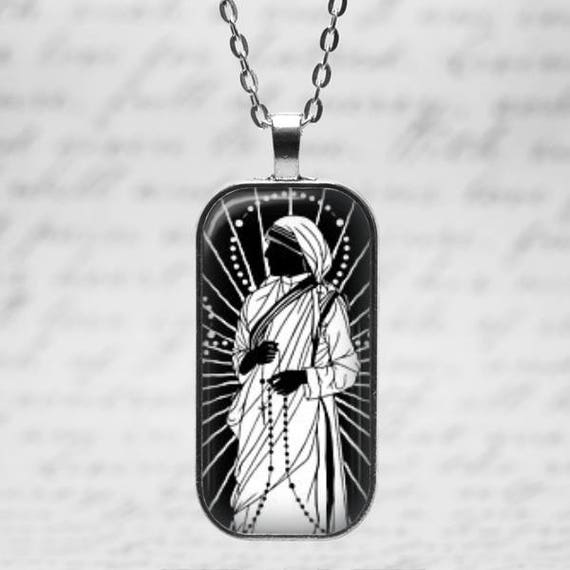 Saint Mother Teresa Pendant - Catholic Jewelry, Mother Teresa Necklace with 18 or 24 inch chain -  Love to Pray