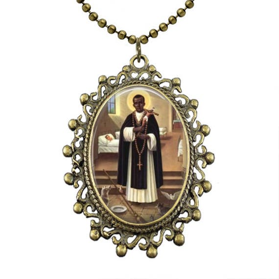 St Martin de Porres Pendant with 18 or 24 inch chain - Catholic Necklace - Patron Saint of Mixed Race People Social Justice