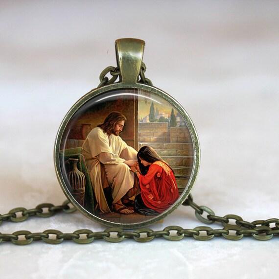 Saint Mary Magdalene Pendant, Catholic Jewelry, Catholic Saint Necklace, Saint Mary Magdalene Necklace